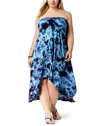 Raviya Plus Size Tie-Dyed Tube Waterfall Maxi Dress Cover-Up ...