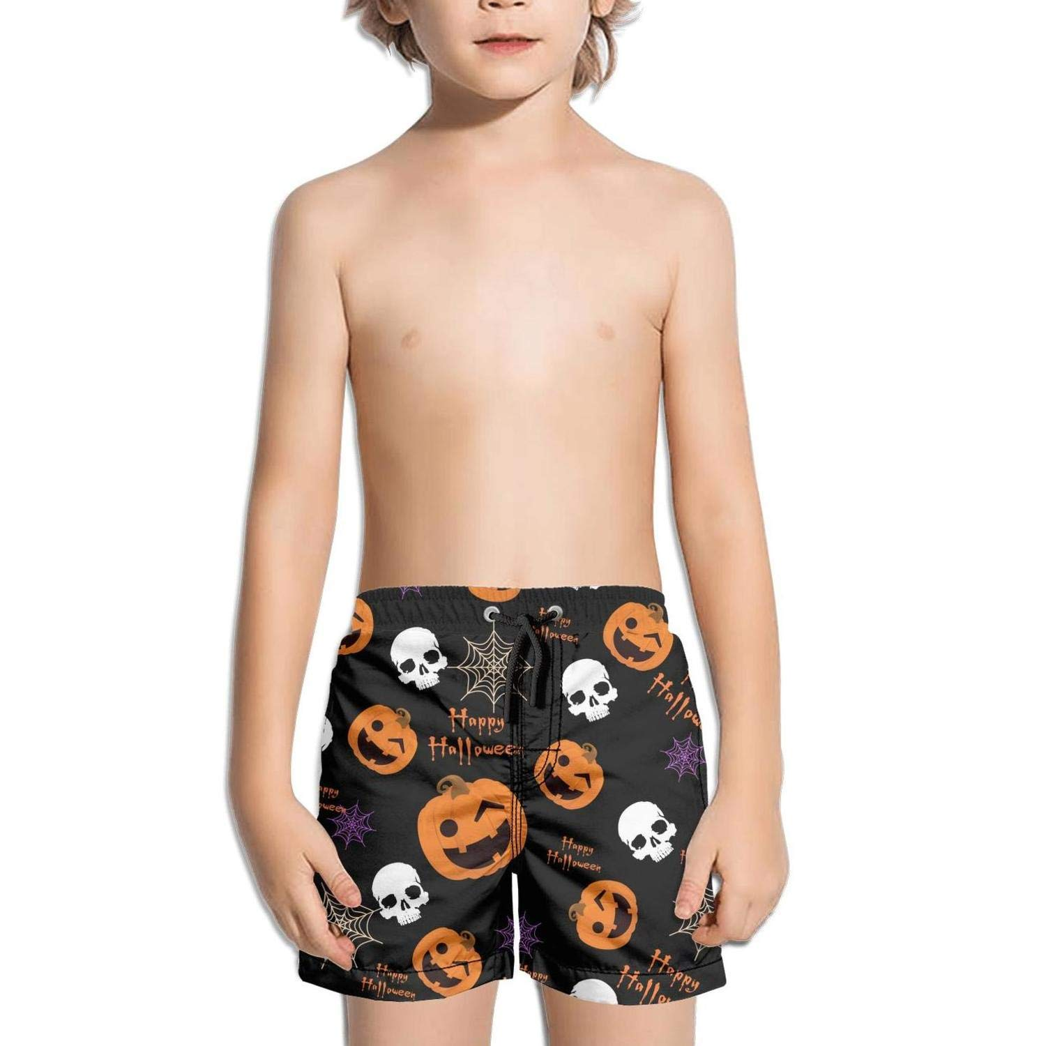 Boys Quick Dry Beach Board Shorts Halloween Cute Witch Kids Swim Trunks with Mesh Lining