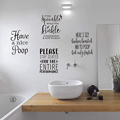 Buy Moharwall Bathroom Quotes Wall Decal Saying Art Stickers Removable Vinyl Decal Decor Set Of 4 Decal 8x10 Great Gift For Bathroom Decoration Online In Turkey B088pj7fj2