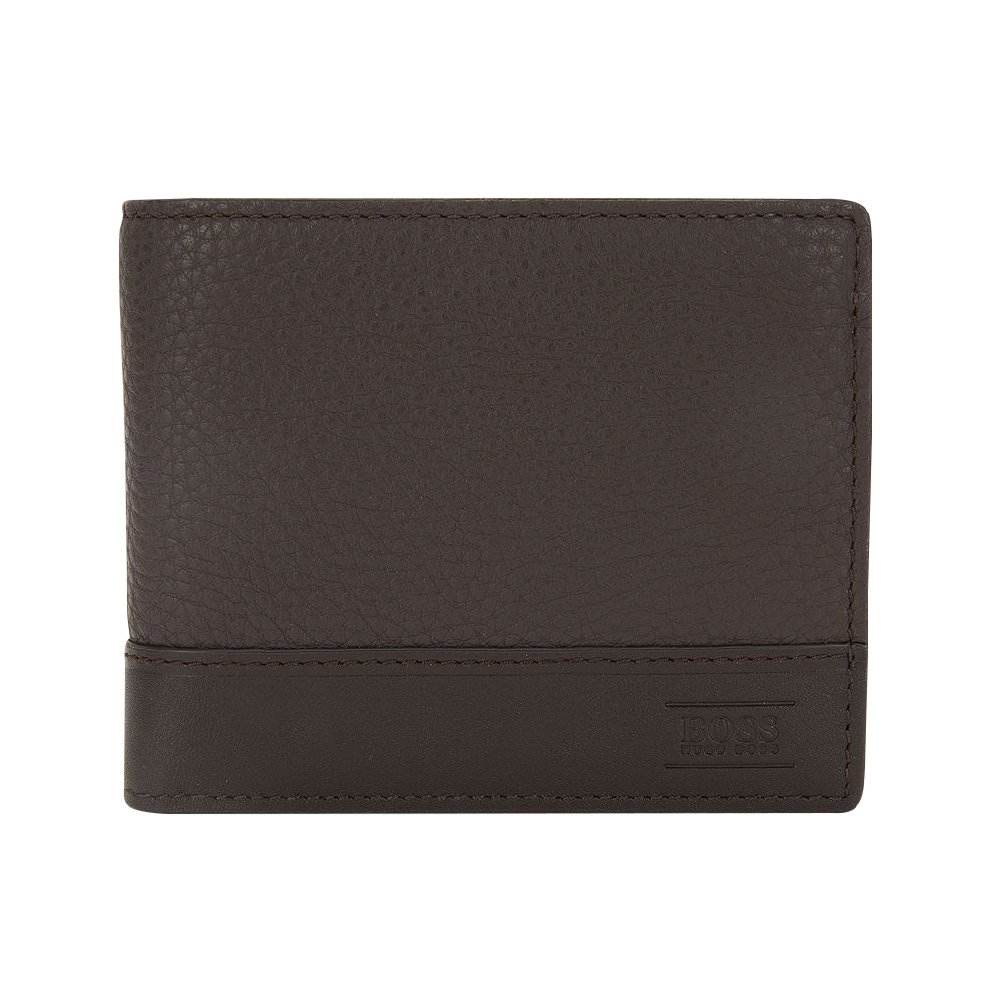 Hugo Boss Men's Aspen Trifold Leather Wallet, OS, Dark Brown