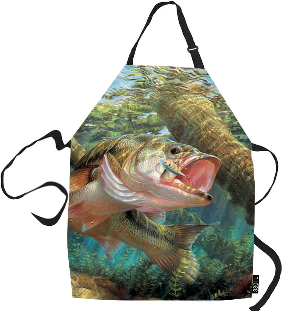 SSOIU Fish Cooking Apron, Bass Fish Jumping Hook in River Kitchen Apron for Baking/BBQ Men Women Unisex Waterproof 31X27 Inches