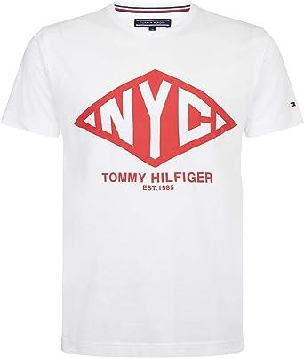 Tommy Hilfiger - Camiseta blanca con logotipo para hombre, talla L, blanco: Amazon.es: Ropa y accesorios