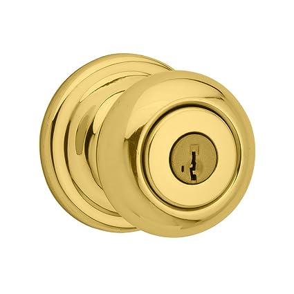 Kwikset Juno Entry Knob featuring SmartKey in Polished Brass - Door ...