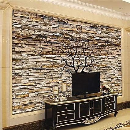 Foto Wallpaper 3d Pietra Parete Tronco Wallpaper Soggiorno ...