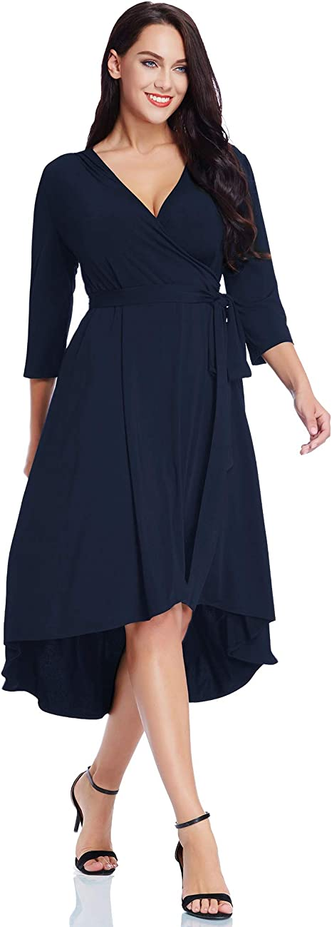 Women's Plus Size Solid V Neck Knee Length 3/4 Sleeve Hi Lo True Wrap Dress