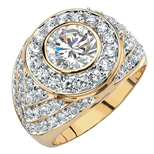 Palm Beach Jewelry Men's Round White Cubic Zirconia 14k Gold-Plated Geometric Cluster Ring Size 8]()