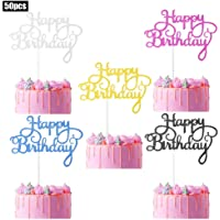 pengxiaomei 50 pcs Happy Birthday Cake Toppers, Birthday Gold Cupcake Topper Acrylic Glitter Cardstock Topper Letters…