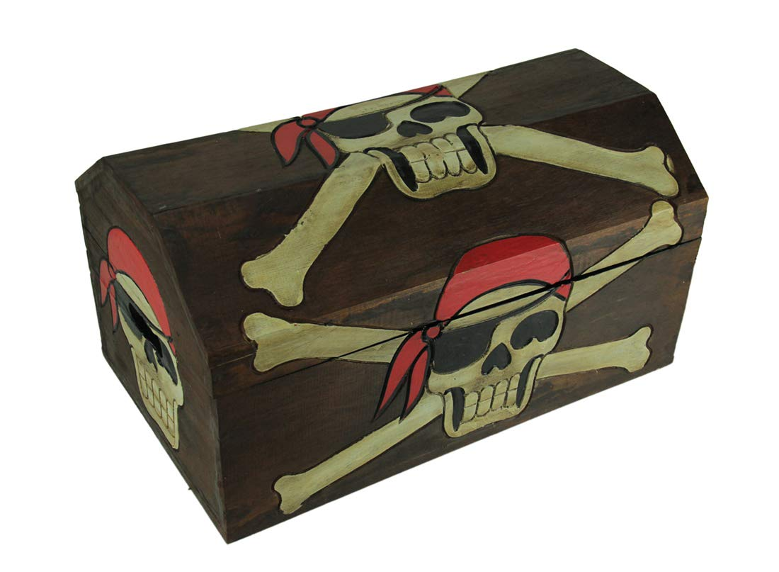 Private Label Wood Childrens Chests Wooden Pirate Skull Treasure Chest Storage Box 19 X 9.5 X 10.5 Inches Brown by Private Label