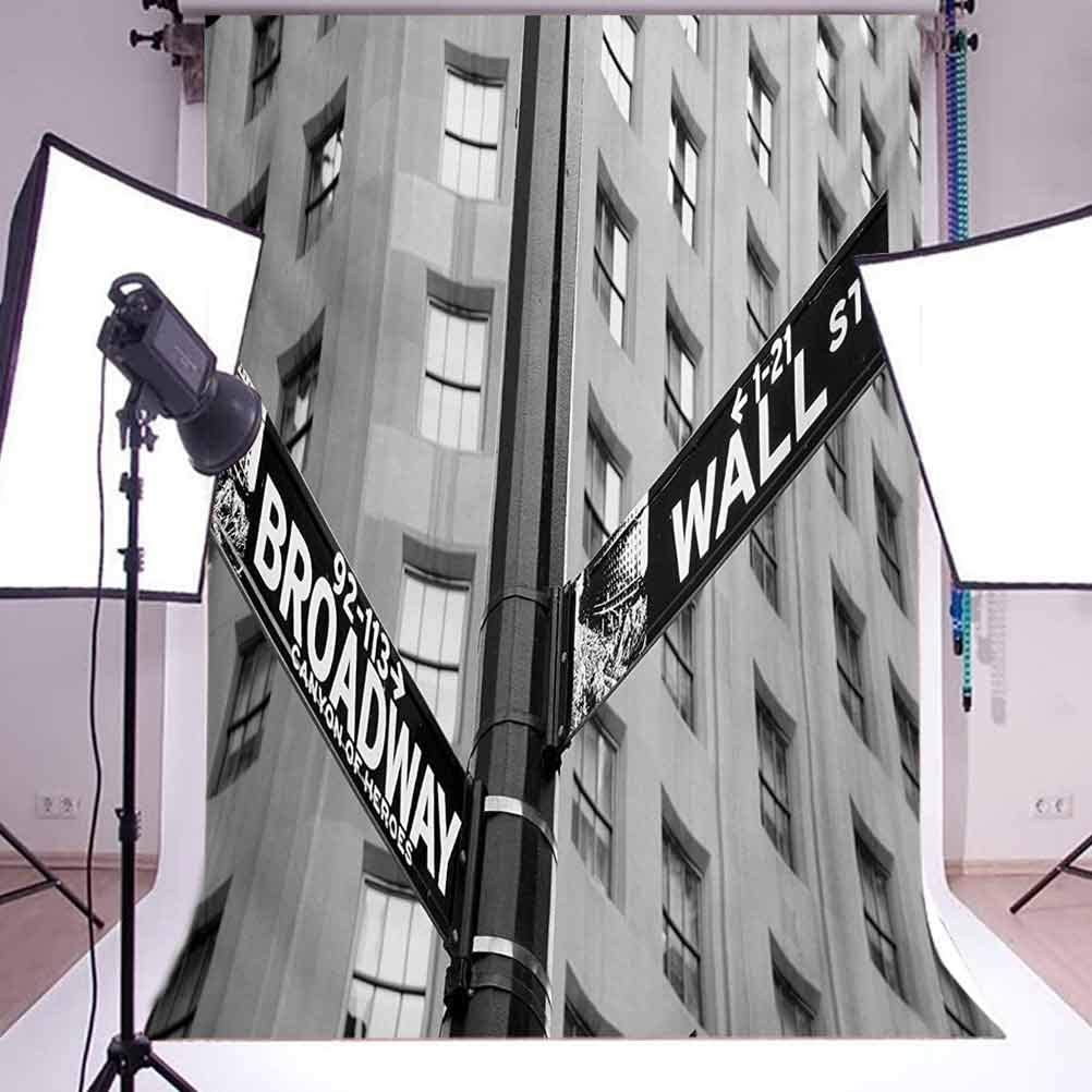 6x8 FT Backdrop Photographers,Street Signs of Intersection of Wall Street and Broadway Finance Destinations Background for Baby Shower Birthday Wedding Bridal Shower Party Decoration Photo Studio