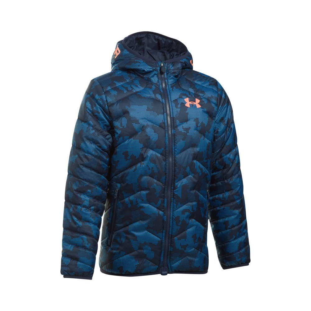 Under Armour Boys' ColdGear Reactor Hooded Jacket, Midnight Navy/Midnight Navy, Youth Medium