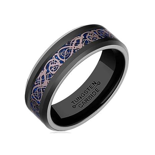 8mm Black Tungsten Carbide Ring for Men Women Blue Carbon Fiber