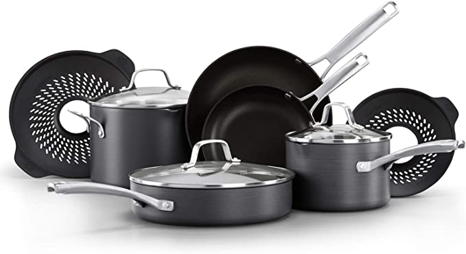 CALPHALON CLASSIC POTS AND PANS SET, 10 PIECE COOKWARE SET WITH NO BOIL-OVER INSERTS