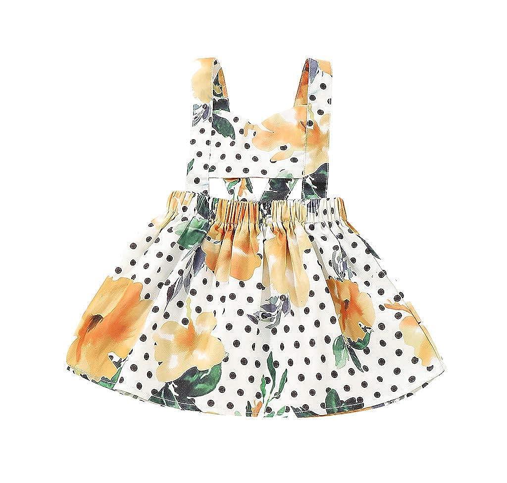HANANei 6M-24M Baby Dress Infant Baby Girls Sleeveless Floral Dot Print Backless Dress Suspender Dresses