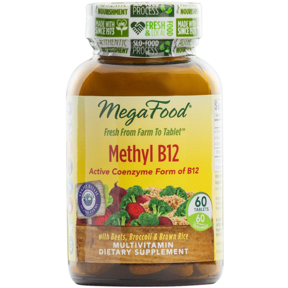 MegaFood - Methyl B12, Helps Maintain Healthy Homocysteine Levels and Supports Heart, Brain, and Nerve Tissue Health with Methylated B Vitamins, Vegan, Gluten-Free, Non-GMO, 60 Tablets