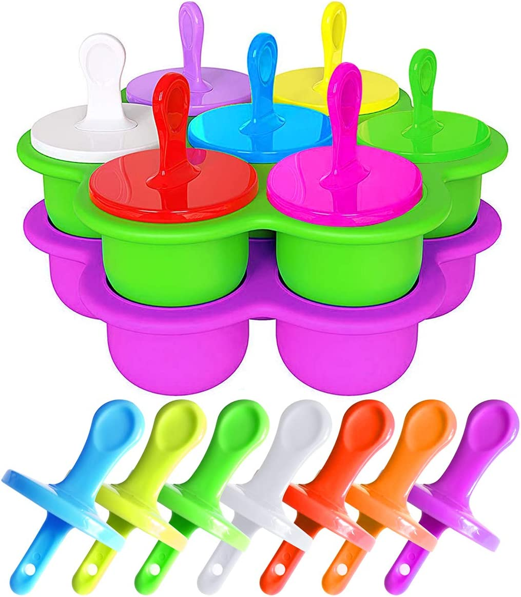 2-Pack Baby Popsicle Molds Silicone Popsicle Maker with Colorful Plastic Sticks, 7 DIY Ice Pop Mold for Egg Bites, Lollipop and Ice Cream Mould, Baby Food Storage Container, Non-Stick Ice Cube Trays