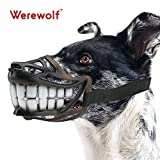 Wrewolf Dog Muzzle WEREWOLF Unique Design with Adjustable Metal Buckle and Unti-biting & Chewing for Small Medium and Large Dogs-Smile & Sharp (New Smile, L)