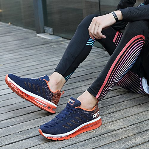 TQGOLD Mens Womens Air Cushion Athletic Running Shoes Lightweight Sport Gym Jogging Walking Shoes Dark Blue Orange DM99Y1kZ