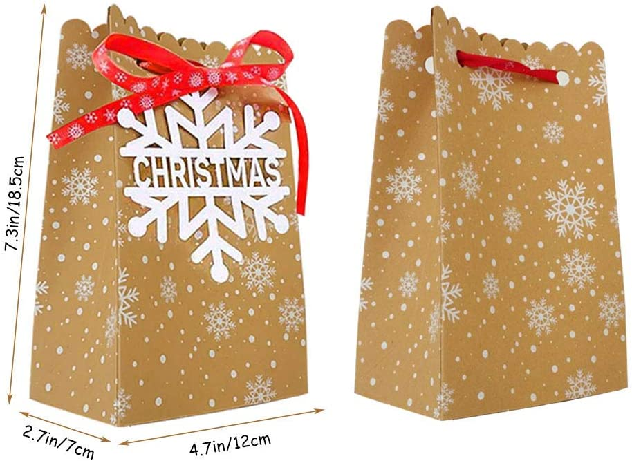 Xiangmall 24 Pieces Christmas Gift Bags Reusable Kraft Paper Gift Box Xmas Gift Boxes with Six Different Christmas Labels Tags for Christmas Favors Candies Cookies