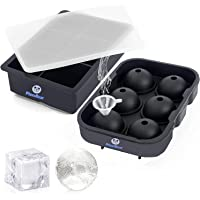 Plussbear Ice Cube Trays (Set of 2), Silicone Sphere Whiskey Ice Ball Maker with Lids & Large Square Ice Cube Molds for…