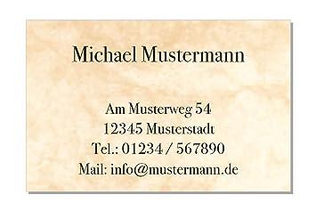 100 Visitenkarten 85 X 55 Mm Inkl Kartenspender Design Marmor Beige
