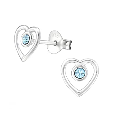 Open Heart Earrings with crystal from Swarovski (Aquamarine - various  options)  925 Sterling Silver earrings for girls - Sterling Silver studs -  silver ear ... 12eb03bfa7