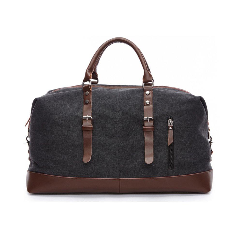 Canvas Duffel Bag Oversized Luggage Tote Bag Leather Trim Handbag Large Capcity Caryy On Overnight Weekend Travel Bag (Black)