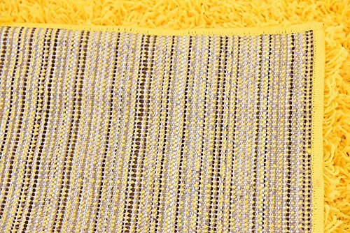 Unique Loom Solid Shag Collection Tuscan Sun Yellow 5 x 8 Area Rug (5' x 8')