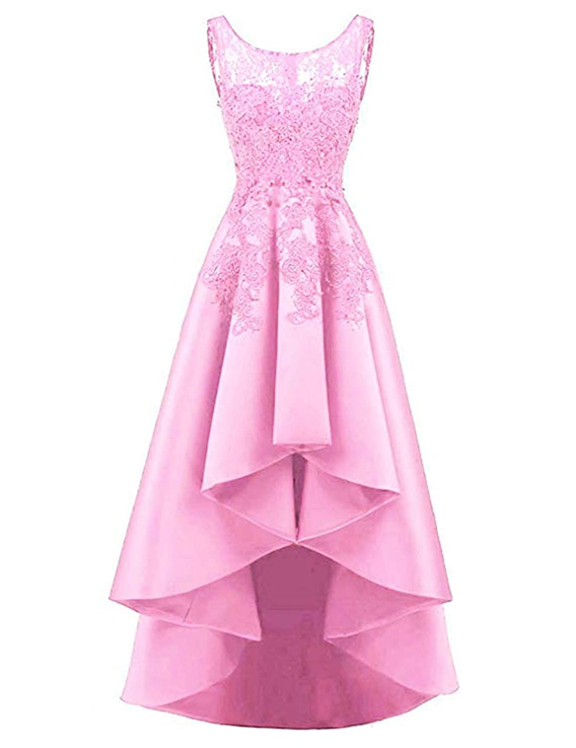 bluesh Pink QiJunGe Women's High Low Prom Dress Lace Satin A Line Evening Formal Gowns