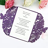 FEIYI 25 pieces Laser Cut Lace Pattern Wedding Invitations Cards For Wedding Baby Shower Rehearsal Dinner Invites Birthday Invitation (Purple)