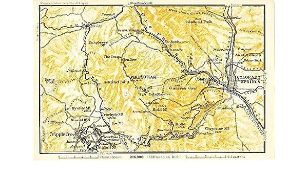 Colorado Springs Pikes Peak Colorado 1904 Color Lithograph Us - Pikes-peak-on-us-map