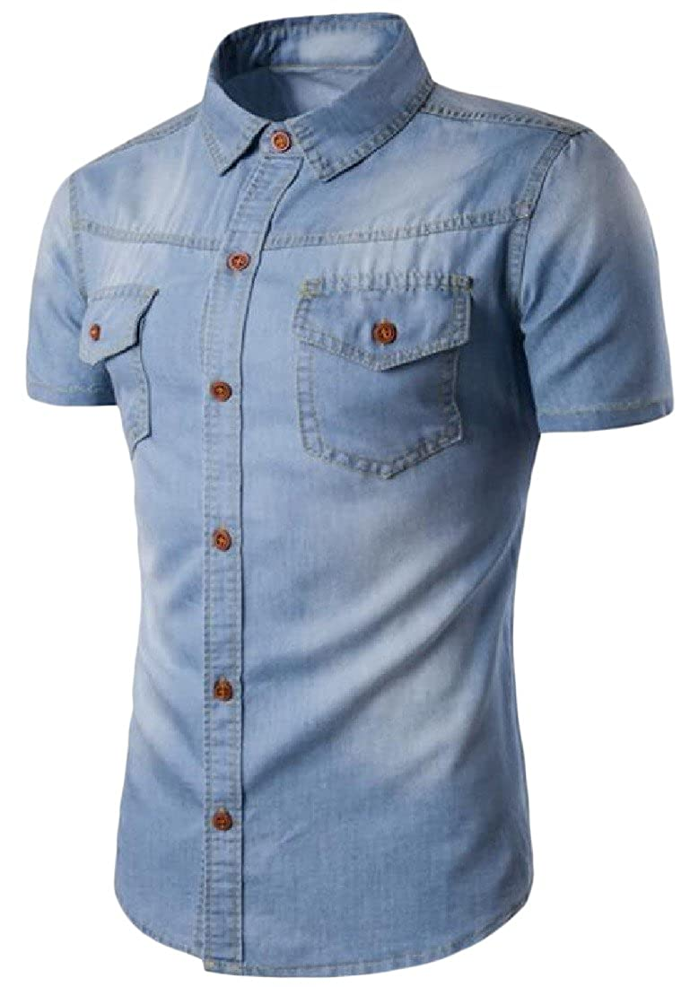 Honey GD Mens Casual Button Down Short-Sleeve Denim Shirt Light Blue 3XL