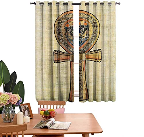 dsdsgog Drapes for Kitchen Ancient Papyrus Presenting The Key of Life Traditional Empire Egyptian Print Include 2 Curtain Panels