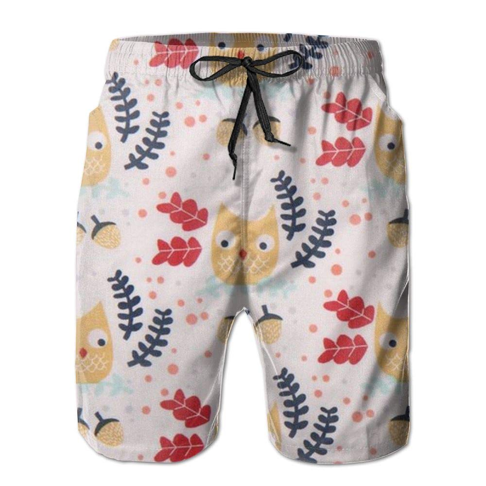 Cartoon Owl Mens Beach Board Shorts Quick Dry Summer Casual Swimming Soft Fabric with Pocket