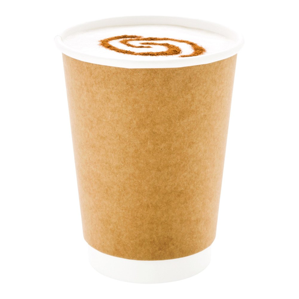 500-CT Disposable Kraft 12-oz Hot Beverage Cups with Double Wall Design: No Need for Sleeves - Perfect for Cafes - Eco Friendly Recyclable Paper - Insulated - Wholesale Takeout Coffee Cup