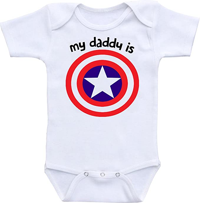 Manta My Daddy Is Captain America Funny Baby Onesie Bodysuit (0-6 Months)