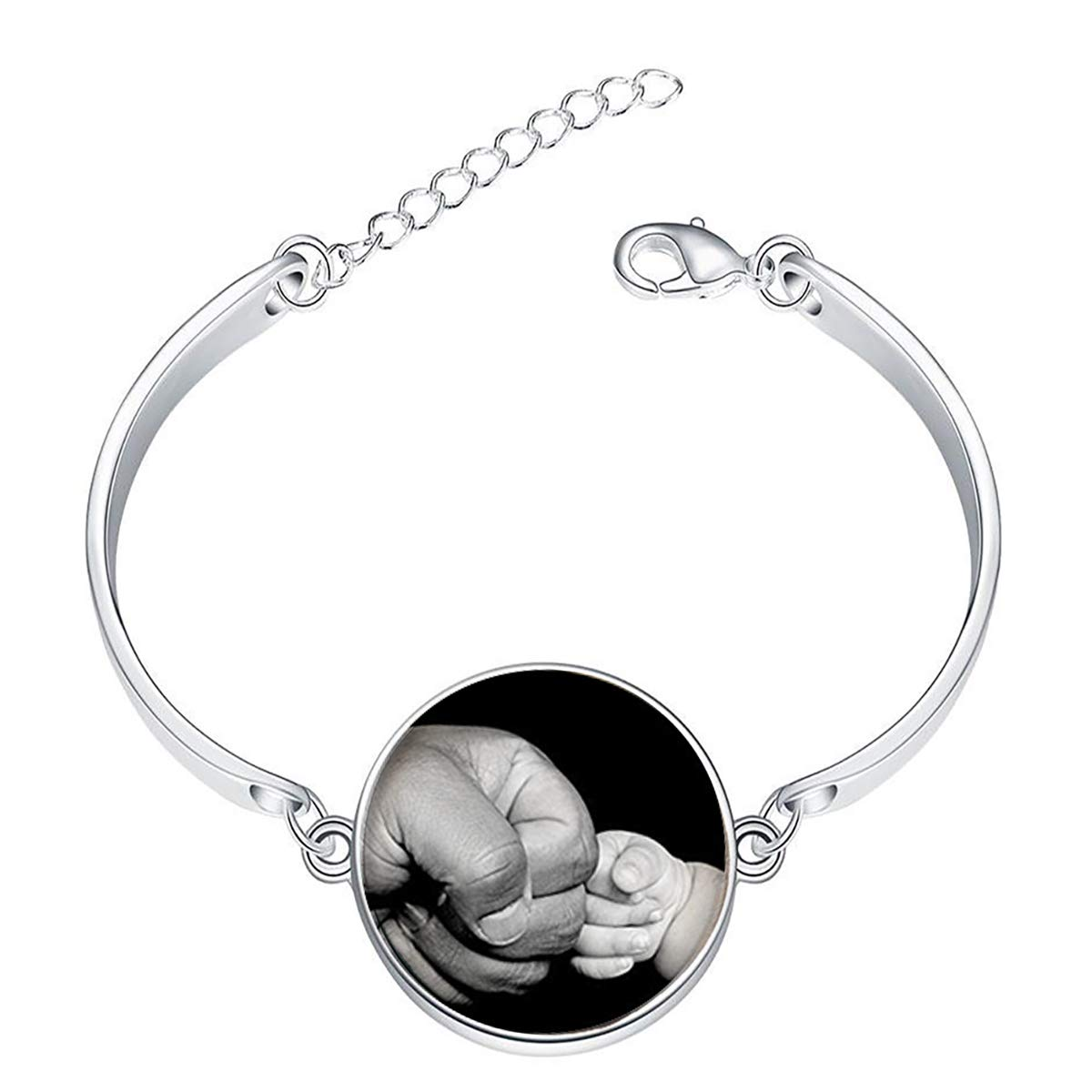 Artwork Store Adjustable Silver Bracelets Fathers Big Fist and Kids Small Fist Charming Fashion Chain Link Bracelets Jewelry for Women