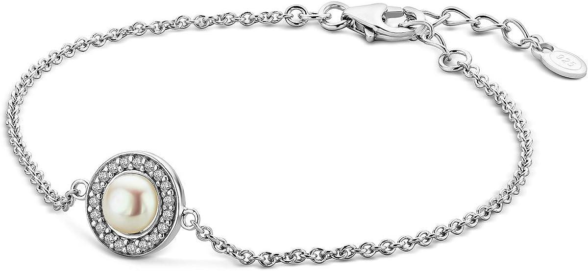 Miore - Pulsera de plata de ley 925 para mujer con perla y circonita brillante de 18 + 4 cm