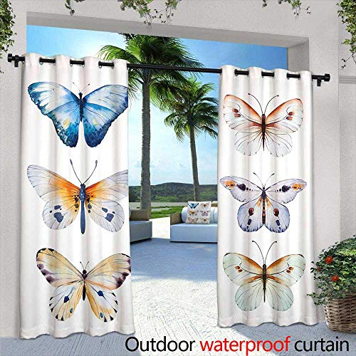 - Outdoor Blackout Curtains,Seamless Wallpaper with Spring Flowers, Watercolor Painting,W72 x L96 for Patio Light Block Heat Out Water Proof Drape