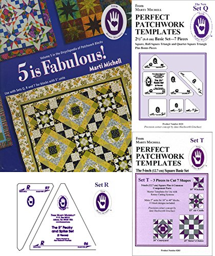 Marti Michell Perfect Patchwork System Volume 5 Bundle - Includes Required Templates Sets Q, R, and T by Marti Michell