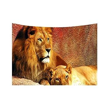 Ruiting Tapiz de Pared de león en 3D, Toalla de Playa para Dormitorio, Sala de Estar, Tela, Fondo Colgante, 150 * 130cm, Medium: Amazon.es: Hogar