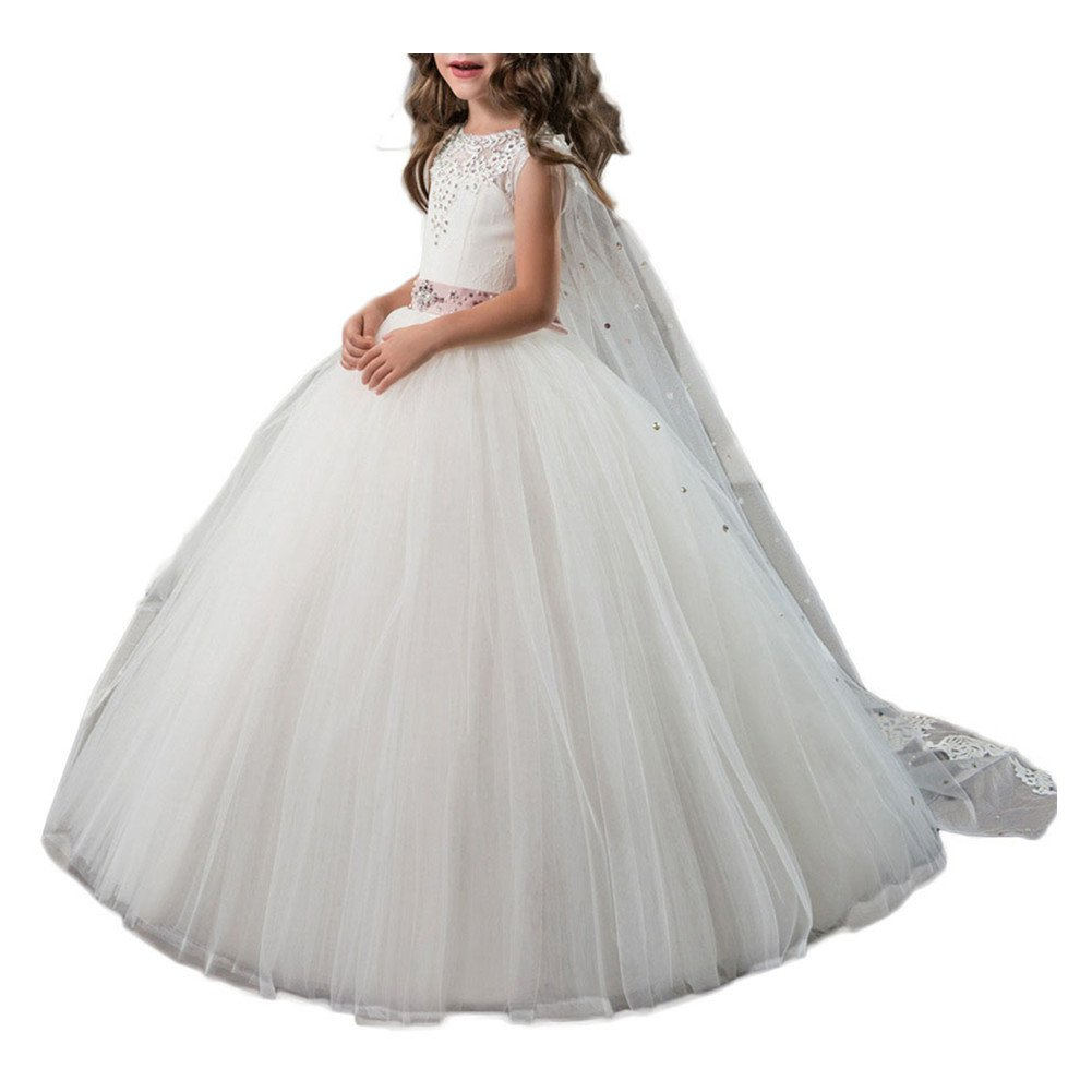 WeeH Girl Dress Wedding Bridesmaid Tutu Dresses Long Ruffles Lace for Party White 8-9 Year