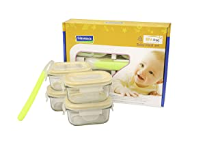 Glasslock Kitchen Food Containers Storage Baby Meal Set Non-Toxic Tempered Glass (9p)