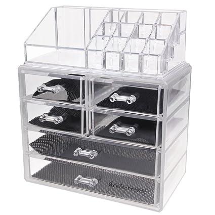 Acelectronic® Gran Capacidad cosméticos organizador transparente acrílico joyas y Cosméticos Almacenamiento pantalla soporte de accesorios