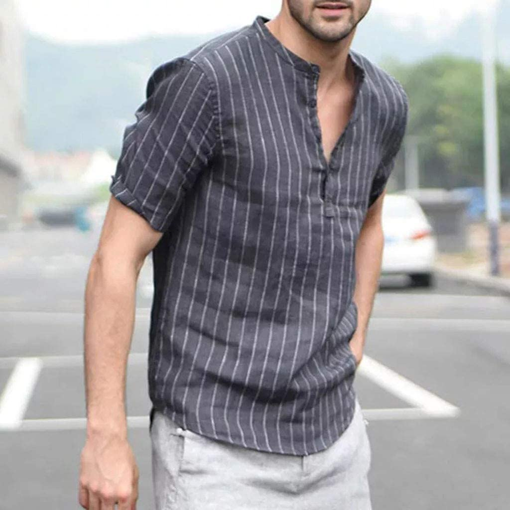 Challyhope Mens Cotton Linen Striped Henley V-Neck Tops Casual Loose Fit Short Sleeve Retro T Shirts Beach Blouse
