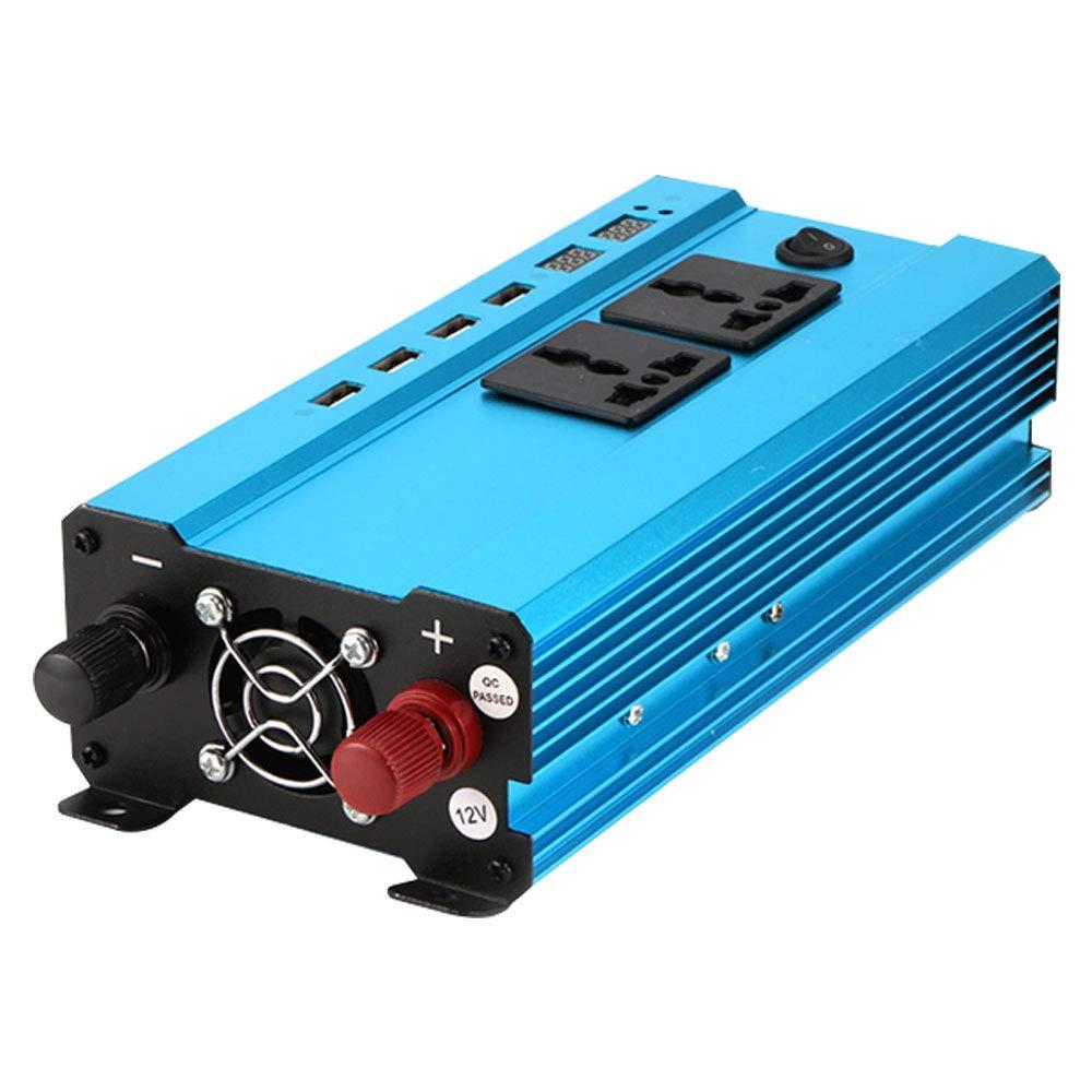 Caricabatterie Convertitore di Potenza per Auto con Doppia Uscita CA Universale 4 Interfaccia USB e Doppio accendisigari Rosepoem Inverter ad energia Solare da 550 W 1200 W CC da 12V a 110 V CA