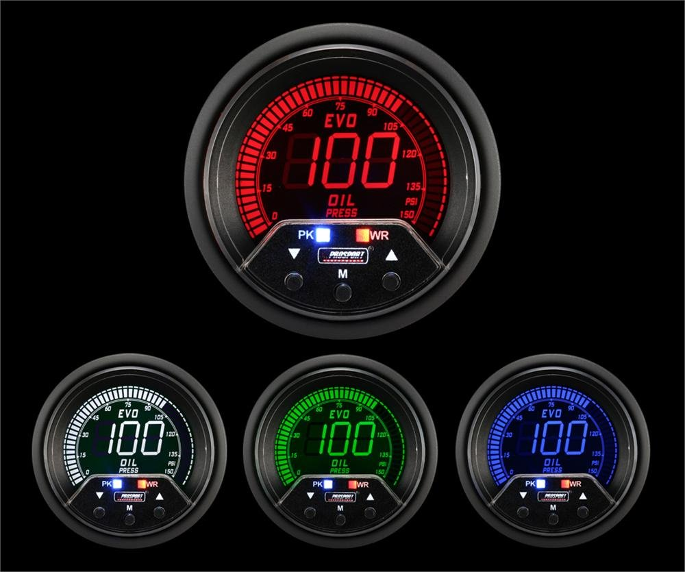 Oil Pressure Gauge- EVO Series Blue and Red Digital 52mm (2 1/16') Prosport Gauges Inc. 216EVOOP-PSI