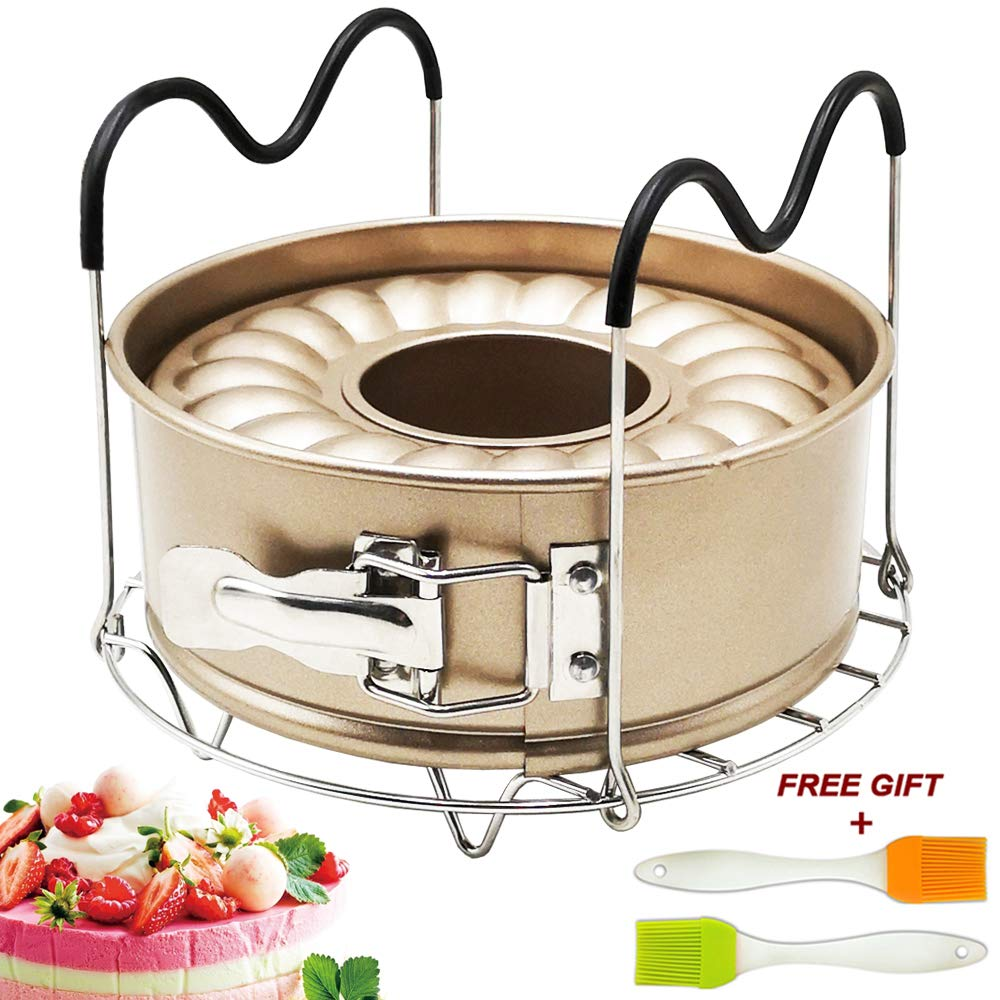 7 Inch Springform Pan Non-stick Leakproof 2 Removable Bottom with Steamer Rack Trivet for Cheesecake Pressure Cooker Accessories Set Fit Instant Pot Accessory 6qt 8qt by Fish&Fairy