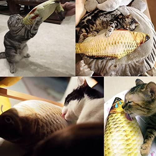 Coolfm Catnip Toys Set Simulation Fish Shape Doll Interactive Pets Pillow Chew Bite Supplies for Cat/Kitty/Kitten Fish Flop Cat Toy Catnip Crinkle Toys 3PCS (CAOY-3PCS) 6