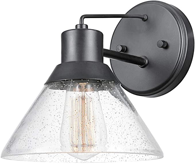 Globe Electric 44264 Bolton 1 Light Outdoor Indoor Wall Sconce Matte Black Seeded Glass Shade Amazon Com