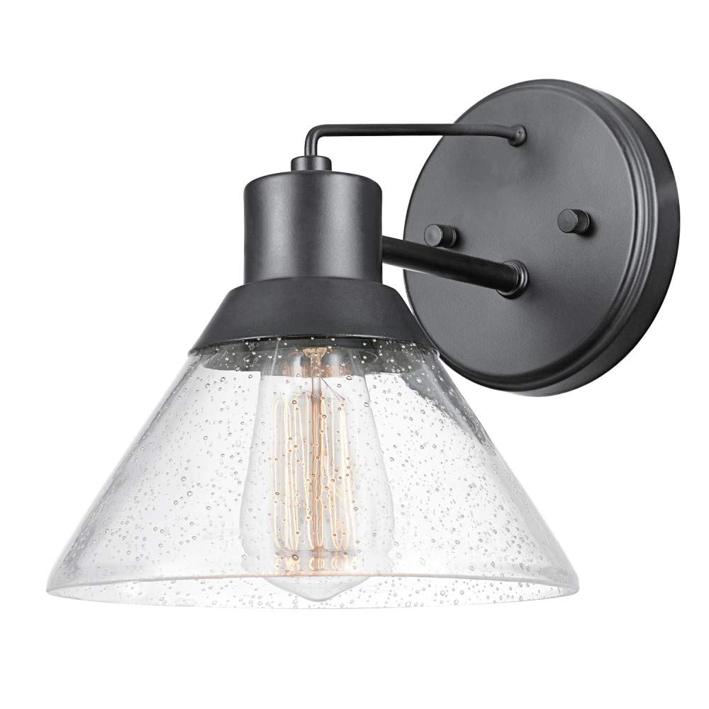 Matte Black Seeded Glass Shade Globe Electric 44264 Bolton 1-Light Outdoor Indoor Wall Sconce